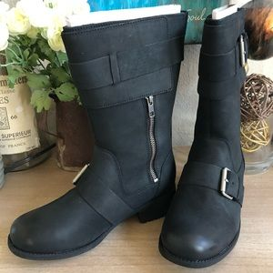 1818f579c5e 🎁Chancey Black Leather Calf Biker Boots In box! NWT